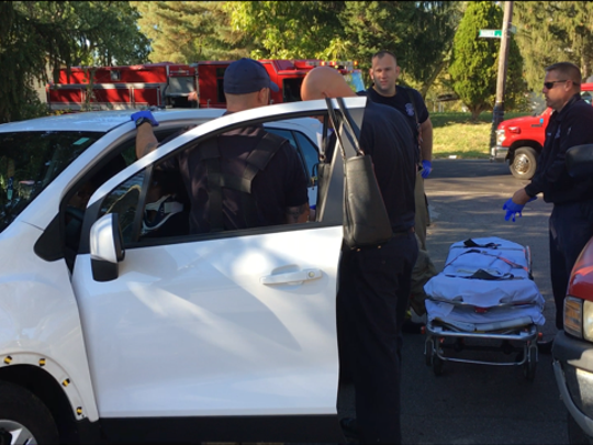 Mansfield police and firefighters were on the scene of a two-vehicle crash Saturday around 4 p.m. Two people were injured and transported to OhioHealth Mansfield Hospital.