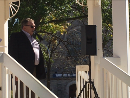 Mansfield Municipal Court Judge Jerry Ault was among the speakers at the Domestic Violence Awareness Kick off in Central Park  on Monday.