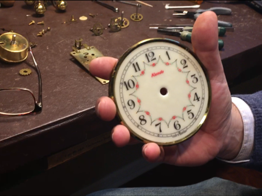 Steve Shroyer, the owner of The Cottage Clock Shop in Galion, talks about daylight savings time and how to property turn back this German anniversary clock he is repairing.