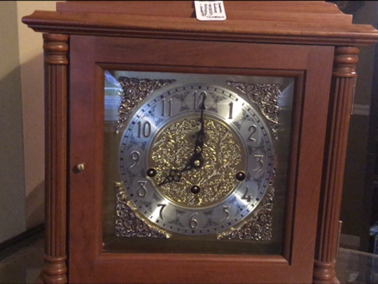 This clock, which plays music each hour, is easy to change at the end of Daylight Savings Time, said Steve Shroyer, the owner of The Cottage Clock Shop in Galion.