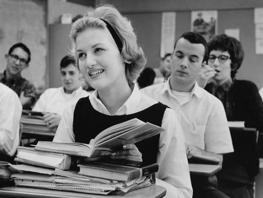 Diane Sawyer as a senior at Seneca High School after returning from Mobile, Ala., where she was named America's Junior Miss. 1963