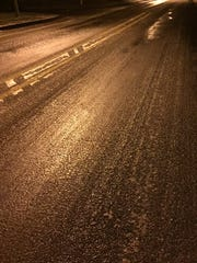 Ice on area roads early Monday morning, Jan. 4.