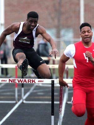 Victor Adebayo of Licking Heights placed 4th in the 300 meter hurdles with a time of 42.84 at the Newark Invitational Saturday.