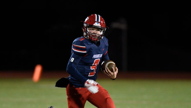 Livonia Franklin QB Jacob Kelbert sparked his team to a 31-29 victory over Flushing.