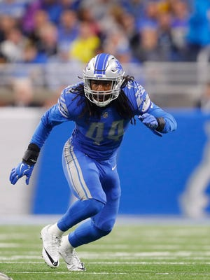 Jalen Reeves-Maybin (44), who played at Northeast High School, is among the 26 former Tennessee Vols now playing in the NFL. Reeves-Maybin is headed into his second season as a linebacker for the Detroit Lions. (AP Photo/Paul Sancya)
