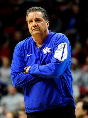 iMar 16, 2016; Des Moines, IA, USA; Kentucky Wildcats head coach John Calipari during a practice day before the first round of the NCAA men's college basketball tournament at Wells Fargo Arena. Mandatory Credit: Jeffrey Becker-USA TODAY Sports