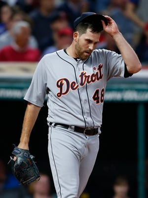 Tigers pitcher Matthew Boyd reacts after giving up a single to Indians leftfielder Brandon Guyer to load the bases during the second inning of the Tigers' 2-0 loss to the Indians on Tuesday, Sept. 12, 2017, in Cleveland.
