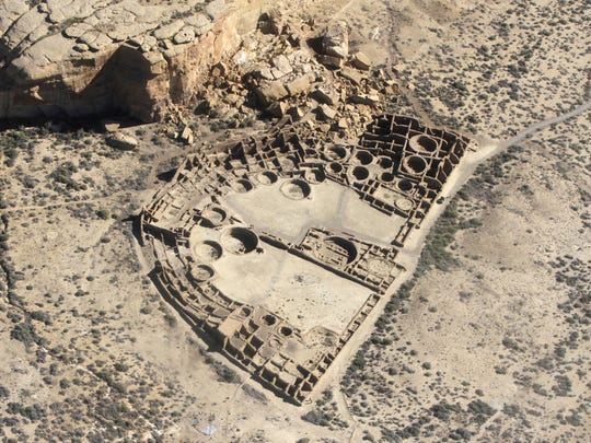 Chaco Culture National Historical Park is seen on Oct. 6, 2014, during a flight over Chaco Canyon.
