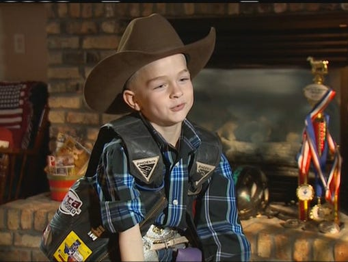 Colt Jackson and his Mutton Busting trophy