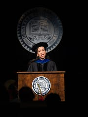 Lisa Blunt Rochester, United States representative, gives the commencement address at the Delaware State University Commencement in Dover.  A total of 649 students graduated.