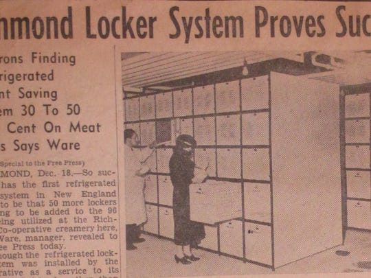 A December 1939 Burlington Free Press article about the Richmond creamery's refrigerated locker system.