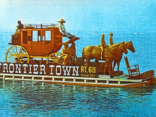 One of the most memorable advertising gimmicks in Ocean City history was this barge that moved along the ocean shoreline during the 1960s. It promoted Frontier Town, which opened in 1959.