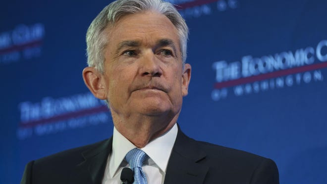 "In this Jan. 10, 2019, file photo Federal Reserve Board Chair Jerome Powell talks during the Economic Club of Washington luncheon in this Wednesday, Jan. 30, file photo. The central bank says it plans to be ""patient"" about future rate hikes in light of ""global economic and financial developments and muted inflation pressures."""