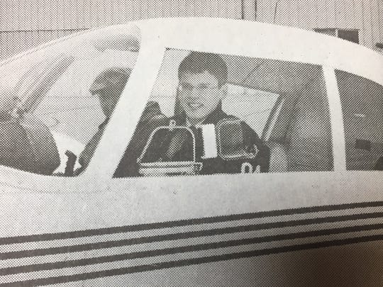 David Logsdon, a Union County resident who attended the Culver Academies sits in the plane he learned to pilot in March 2002.