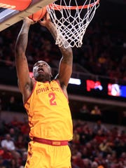 Iowa State Cyclones forward Cameron Lard (2) drives