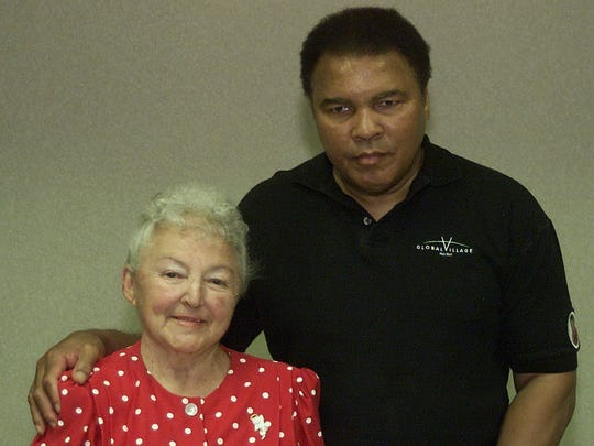 5/8/2000: Former heavyweight champion Muhammad Ali and Suzie Valadez, a local missionary who runs the Hands of Love and Hope Mission share a moment together before traveling to a Juarez gymnasium where the two passed out toys and food to residents of the Colonia Revolucion in south Juarez. many other volunteers were on hand for the day with the former heavyweight champion.