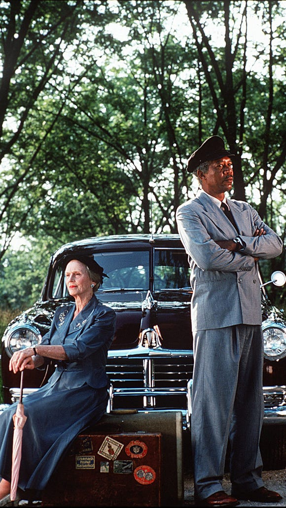 "Jessica Tandy stars as Miss Daisy and Morgan Freeman plays her driver Hoke in ""Driving Miss Daisy."""