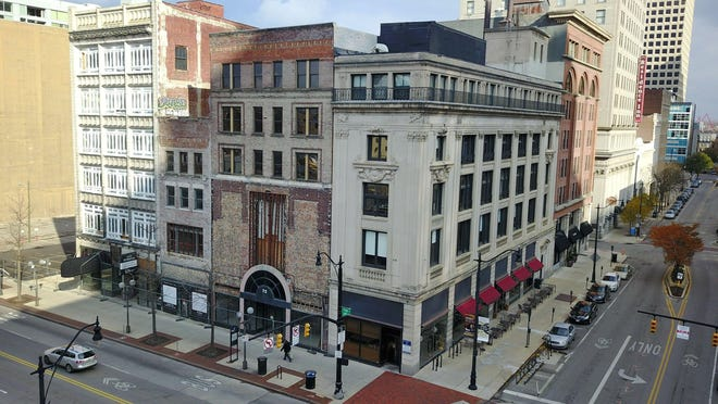 The old Madison's Department Store and White-Haines building on N. High Street Downtown would be renovated under a plan approved by the state.