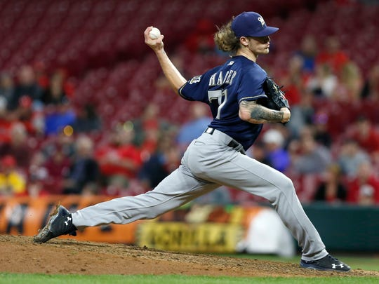 Reliever Josh Hader puts together another brilliant outing for the Brewers, striking out eight of the nine hitters he faced and walking the other as he picked up the save against the Reds on Monday night.
