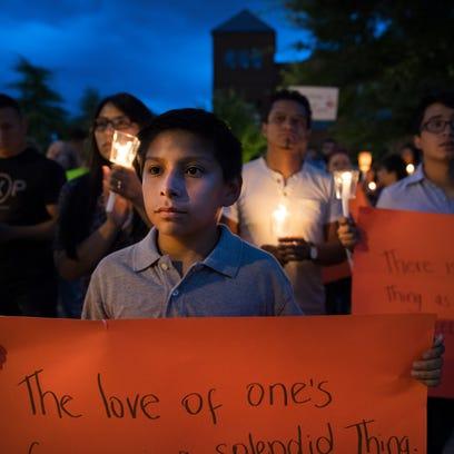 Giovanny Samtillan, 11, attends a vigil for Dreamers