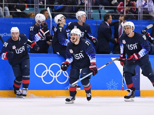 Olympics: Ice Hockey-Men Team Group B - USA-SVK