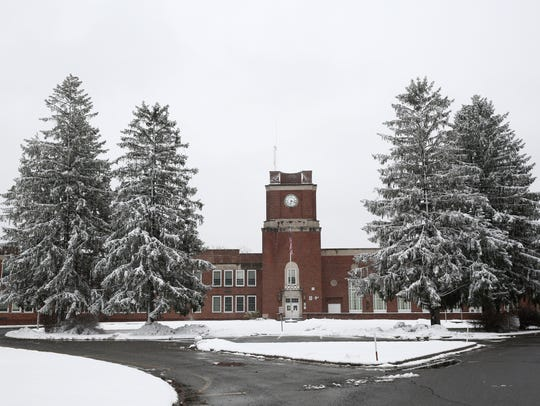 Snow covered trees at Wappingers Falls Junior High