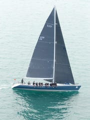 The 68-foot Evolution sails in Lake Michigan shortly after the start of the Chicago Yacht Club Race to Mackinac.