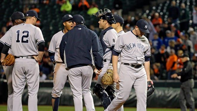 New York Yankees relief pitcher Johnny Barbato, right, walks off the field after being relieved in the tenth inning of a baseball game against the Baltimore Orioles in Baltimore, Thursday, May 5, 2016. Baltimore won 1-0 in ten innings.