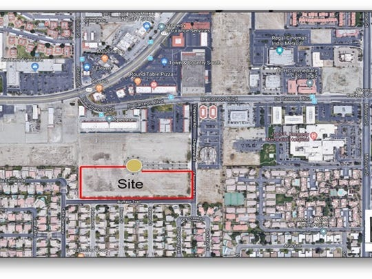The red rectangle on this map marks the proposed location for the Indio Behavioral Health Hospital in central Indio.