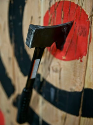 Bullseye. Stumpy's Hatchet House, a social throw down, is a new business in Eatonton where you can throw hatchets at targets.
