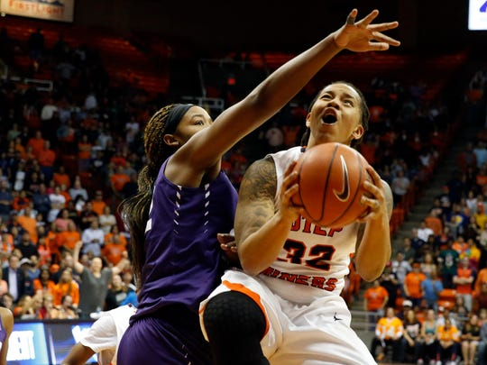 UTEP guard Chrishauna Parker finished with nine points and 10 rebounds in Thursday night's WNIT victory over the TCU Horned Frogs at the Don Haskins Center. The Miners will take on Oregon in Monday's quarterfinals in El Paso.