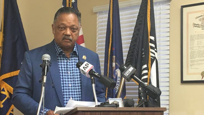 Rev. Jesse Jackson Sr. spoke in Detroit Sept. 25, 2017 and criticized President Donald Trump.