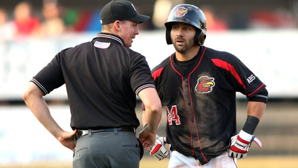 Wings center fielder Darin Mastroianni discusses with
