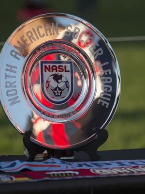 A plate Indy Eleven won for their NASL Spring championship, on display at an Oktoberfest event before the Indy Eleven game, IUPUI campus, Indianapolis, Saturday, Sept. 17, 2016.