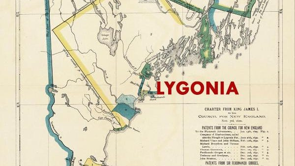 """A screenshot detail of the map """"Reproduction of 1620 Charter from King James I to the Council for New England, 1885"""" shows the colony of Lygonia, named for Sir Ferdinando Gorges' mother, Cicely Lygon."""