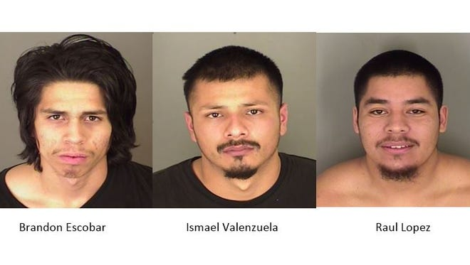 Brandon Escobar, Ismael Valenzuela and Raul Lopez were arrested on suspicion of armed robbery, burglary and more on Sunday night.