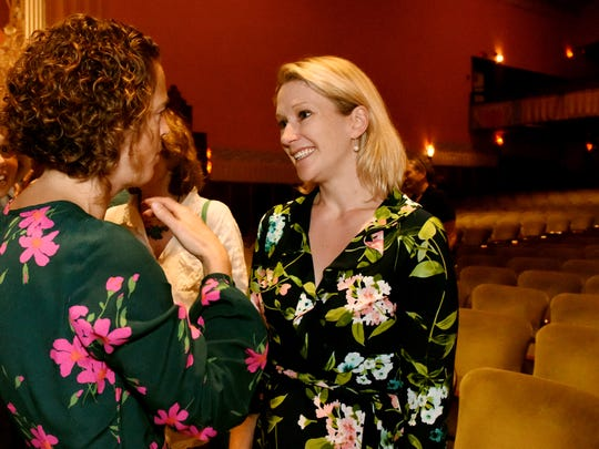 Sara George Byers of Shelburne, president and co-owner of Leonardo's Pizza and Flynn Center board member, left, welcomes the Flynn Center's new executive director,Anna Marie Gewirtz, at the Everybody Belongs: A Celebration Honoring John Killacky at the Flynn Center for the Performing Arts in Burlington on Tuesday, June 26, 2018.