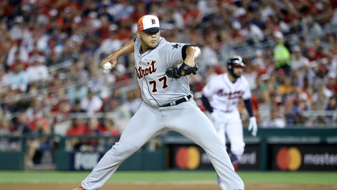 Tigers reliever Joe Jimenez pitches in the fourth inning of Tuesday's MLB All-Star Game at Nationals Park in Washington.