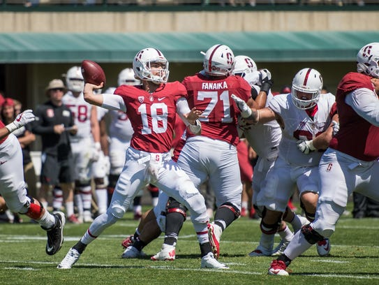 Stanford junior and Palma alum Jack Richardson (18) started in the Cardinal's spring game Saturday. The former Chieftain went 21 of 30 for 178 yards and two touchdowns in the 24-16 win for the offense.