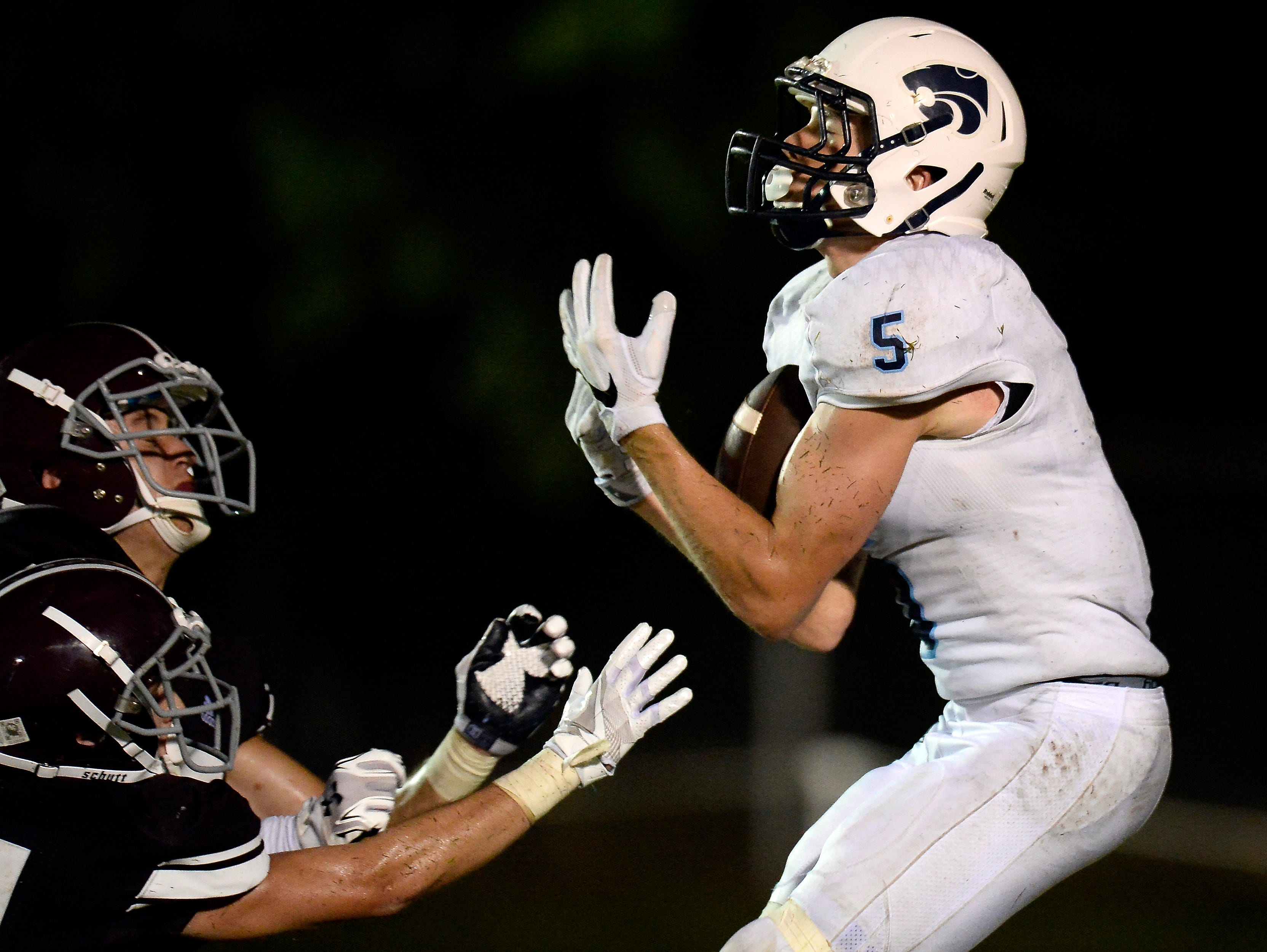 Centennial wide receiver Austin Waddell (5) catches a pass in the end zone for the game-winning touchdown against Franklin with 18 seconds left in the fourth quarter on Friday, August 19, 2016, in Franklin.