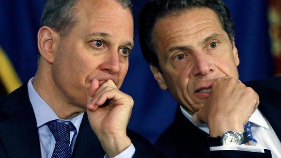 Attorney General Eric Schneiderman (left) and Gov. Andrew Cuomo oppose President Trump's executive order on climate change.