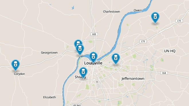 Locations of drug drop-off locations.