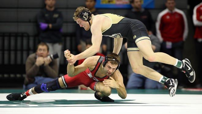Rutgers Eleazar Deluca vs Purdue Austin Nash at the Jack Breslin Student Events Center.