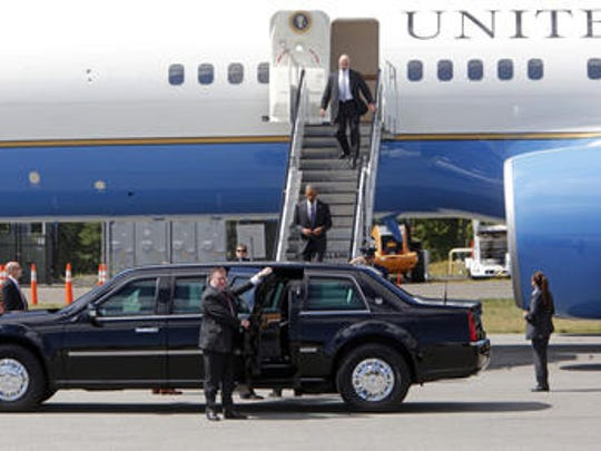 President Barack Obama exits Air Force One Aug. 29, 2014 in Harrison. President Obama is in Westchester for fundraiser events.