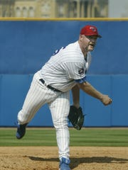 Rod Beck, pitching for the Iowa Cubs in 2002.