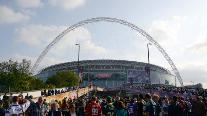Fans arrive for the NFL International Series game between the Pittsburgh Steelers and the Minnesota Vikings at Wembley Stadium in 2013.