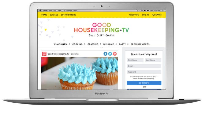 The new GoodHousekeeping.TV online premium video service seen on a laptop.