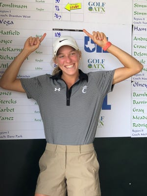 Christoval High School senior Taylor Tomlinson defended her Class 2A title at the UIL state golf tournament in Austin on Tuesday. She will be playing for Angelo State University next season.