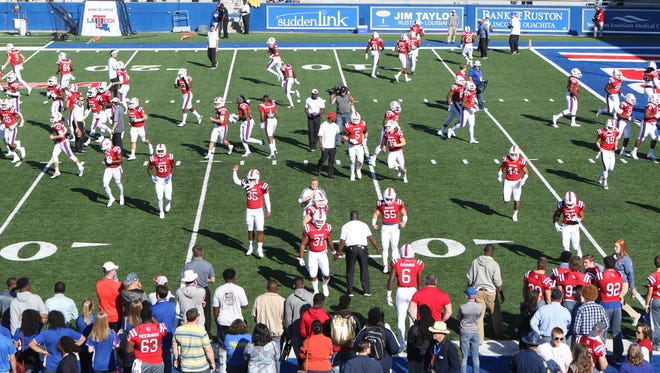 Louisiana Tech warms up before hosting University of Texas at San Antonio for the Bulldogs' homecoming game on Saturday, Nov. 12, 2016.