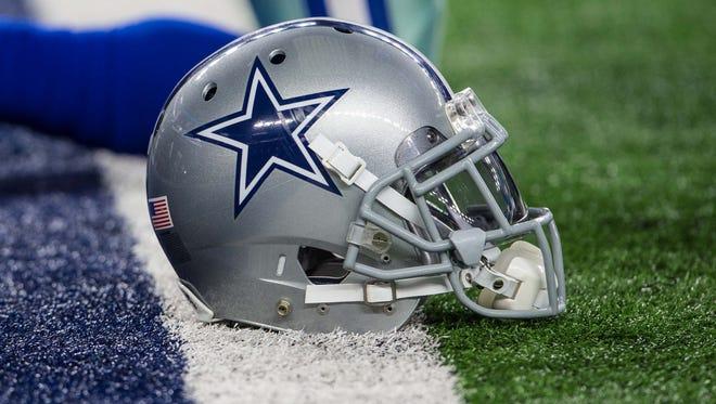 A view of a Dallas Cowboys helmet.